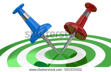 one target with two pins in different colors on the center of it (3d render)