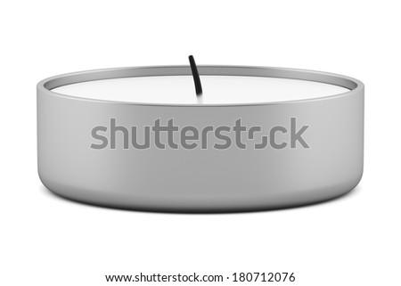one tea light candle isolated on white background - stock photo