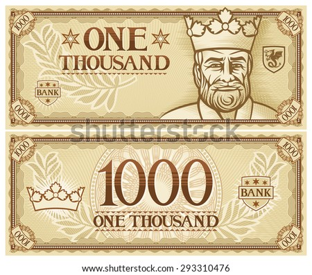 one thousand abstract banknote - stock photo