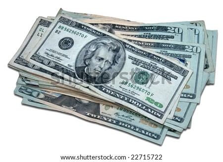 One thousand dollars in twenty-dollar bills with a clipping path.