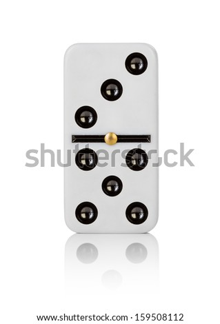 One tile dominoes on white background - stock photo