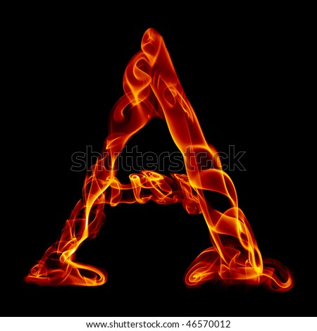 one title letter from smoke  fire alphabet isolated on black - stock photo