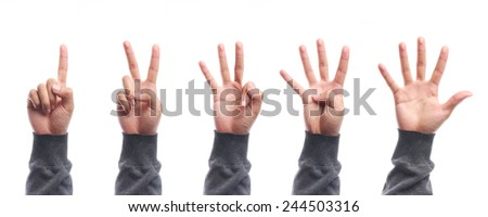 One to five fingers count hand gesture isolated on white background. - stock photo