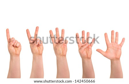 One to five fingers count signs as caucasian hand gesture isolated over white background - stock photo