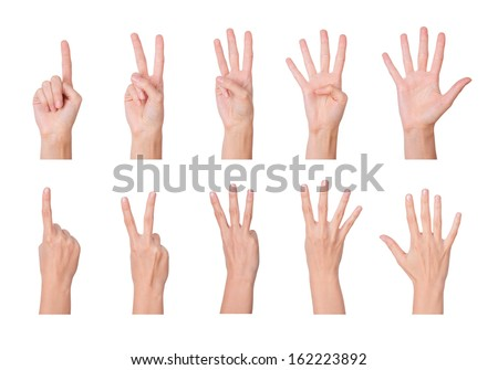 One to five fingers count signs isolated over white background - stock photo