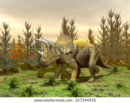 One triceratops dinosaur standing in nature with green grass and fir trees by sunset - stock photo