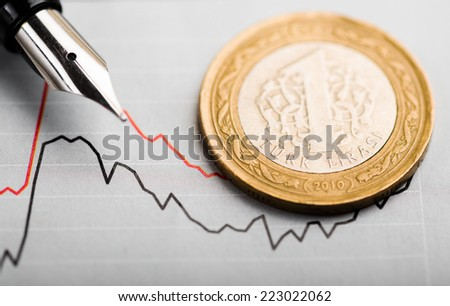 One turkish lira coin on fluctuating graph. Rate of the turkish lira (shallow DOF)  - stock photo