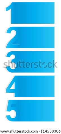 One two three four five - vector progress icons for five steps Raster version - stock photo