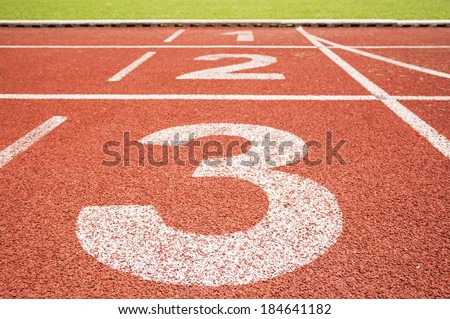 one two three nubers running track - stock photo