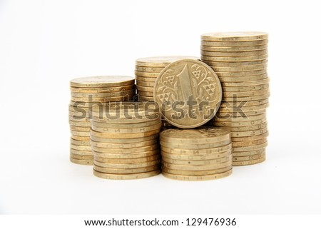 One ukrainian hryvnia coin national currency of Ukraine/Bunch of metal Ukrainian coins isolated on white - stock photo