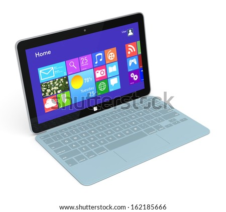 one ultrabook with a detachable keyboard (3d render)