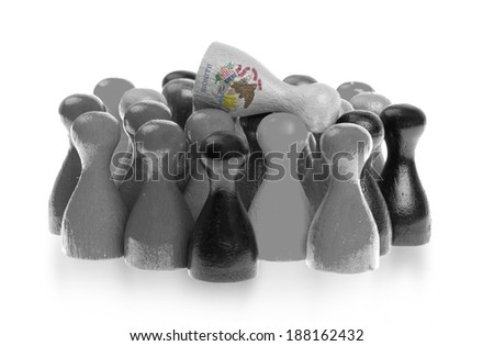 One unique pawn on top of common pawns, flag of Illinois - stock photo