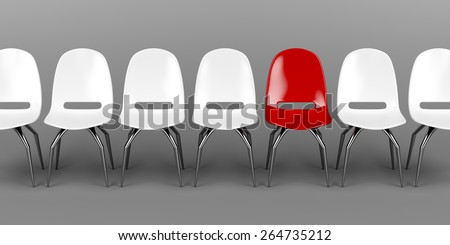 One unique red chair in a row of white chairs - stock photo