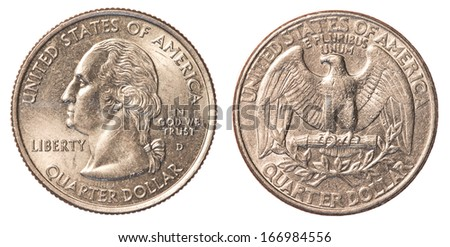 One US Quarter coin isolated on white background - set - stock photo