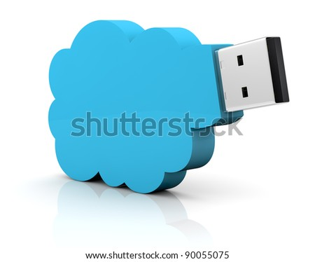 one usb key with a cloud shape, concept of remote data storage (3d render) - stock photo