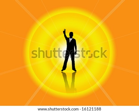 One very happy energetic businessman with his arms raised. - stock photo