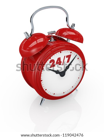 one vintage alarm clock with text: 24/7, concept of always available (3d render) - stock photo