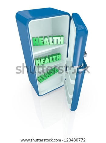 one vintage fridge, with the text: health, inside (3d render) - stock photo