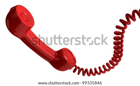 one vintage handset with a spiral cable (3d render) - stock photo