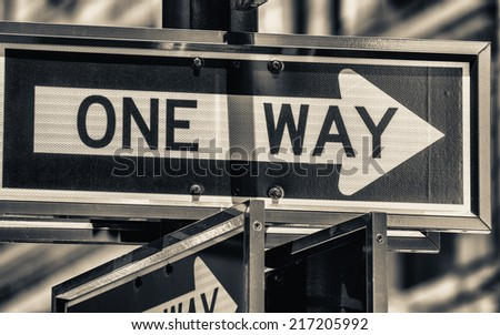 One Way street sign in New York. - stock photo