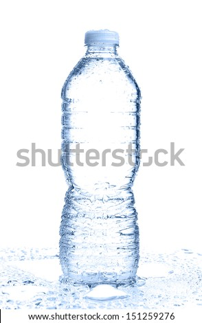 One wet water bottle on white background with copy space. - stock photo