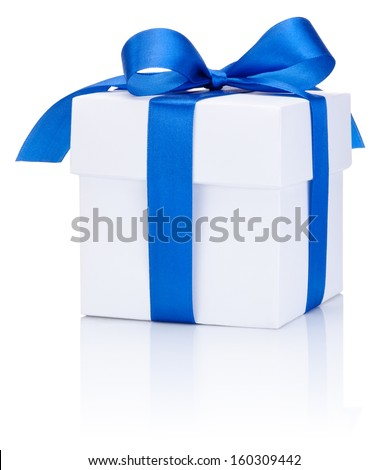 One White boxs tied Blue satin ribbon bow Isolated on white background - stock photo