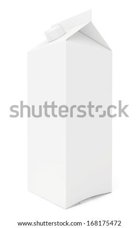 one white cardboard package. 3d render on white background. - stock photo