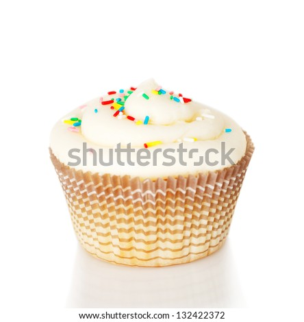 One white cupcake isolated on the white background - stock photo
