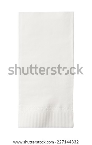 One White Paper Napkin Isolated on White Background - stock photo