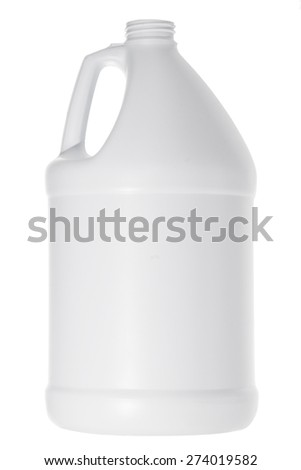 One white plastic gallon jug isolated on white background. Round container used for storing liquid or chemicals. - stock photo