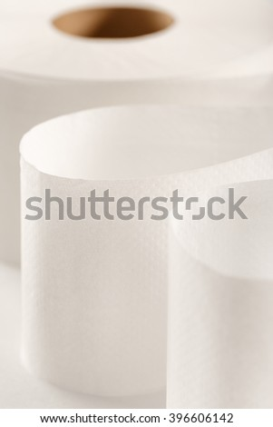 One white toilet paper roll in closeup