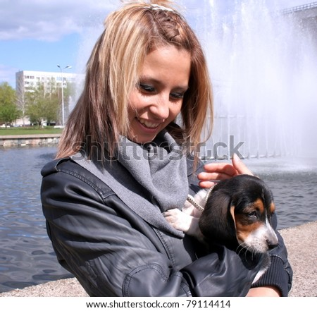 one woman and her pet dog