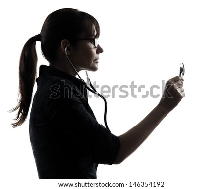 one woman doctor holding stethoscope silhouette studio isolated on white background - stock photo