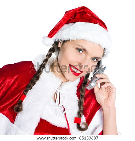 one woman dressed as santa claus on telephone conversation studio isolated white background