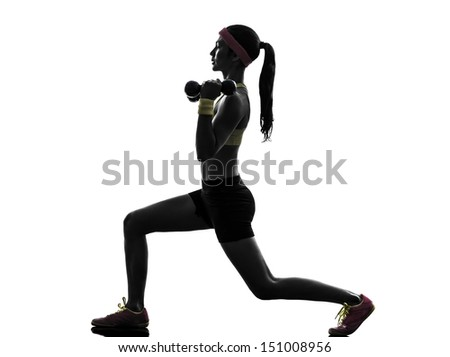 one  woman exercising fitness workout lunges crouching weight training  in silhouette  on white background - stock photo