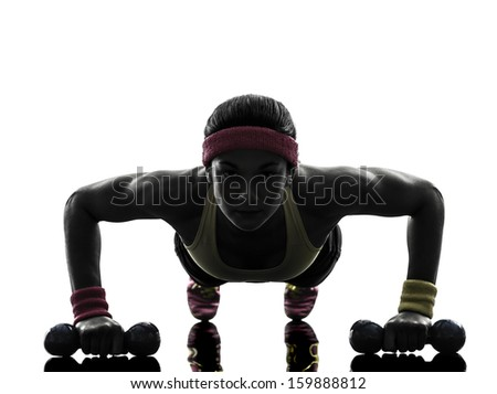 one  woman exercising fitness workout push ups  in silhouette  on white background - stock photo