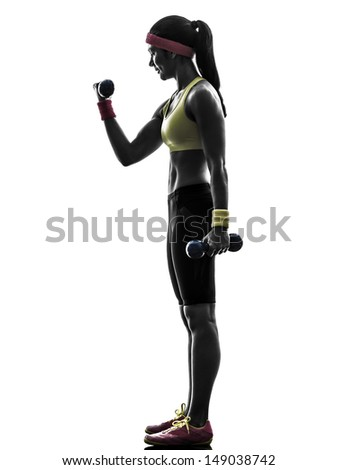 one  woman exercising fitness workout weight training in silhouette  on white background - stock photo