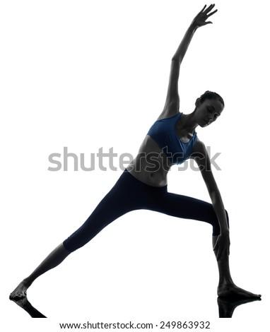 one  woman exercising stretching woman parighasana gate pose  yoga silhouette studio isolated on white background - stock photo