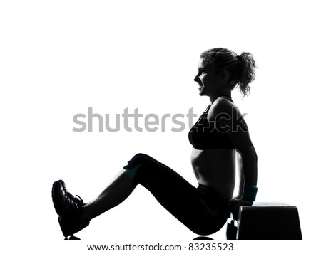 one woman exercising workout fitness aerobic exercise abdominals push ups posture on studio isolated white background - stock photo