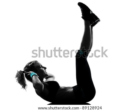 one woman exercising workout fitness aerobic exercise abdominals push ups posture on studio isolated white background - stock photo