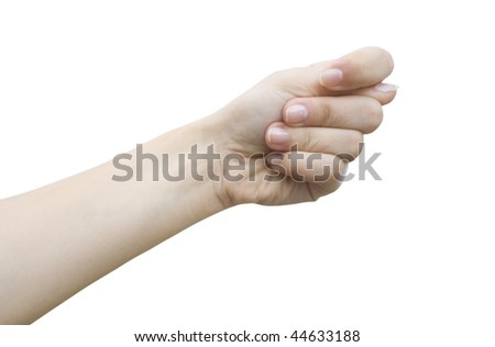 one woman hand isolated on a white background