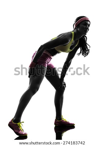 one  woman runner running pain muscle cramp in silhouette on white background