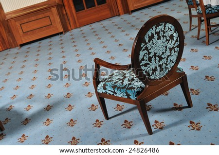 one wood chair in luxury restaurant hotel caffee indoor furniture - stock photo