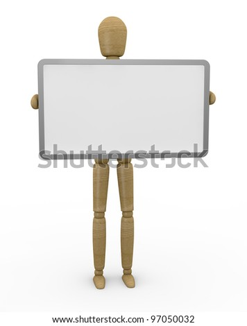 one wooden dummy with a whiteboard with space for custom text or image (3d render)