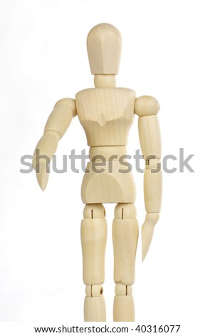 One wooden figures shaking hands. - stock photo