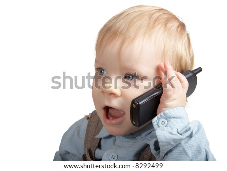 One-year boy speaks by phone - stock photo
