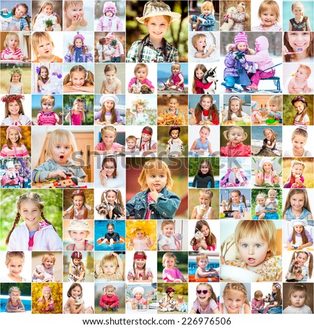One year in the life of two young sisters. collage of photos - stock photo