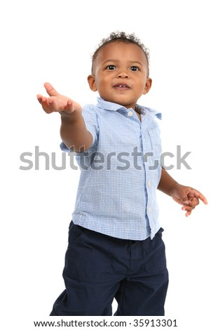 One Year Old Adorable African American Boy Portrait on Isolated White Background - stock photo