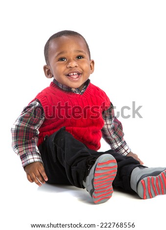 One Year Old Adorable African American Boy Sitting Smiling on Isolated White Background - stock photo