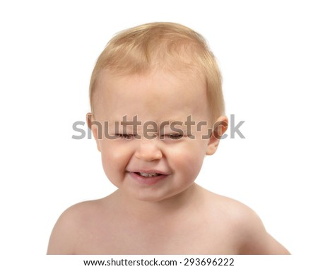 One year old baby boy, Caucasian blond head-shot portrait isolated on white background. making faces.  - stock photo
